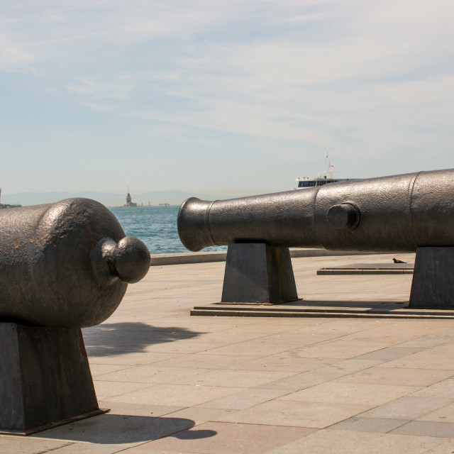 """Antique Ottoman canons facing the sea on display"" stock image"