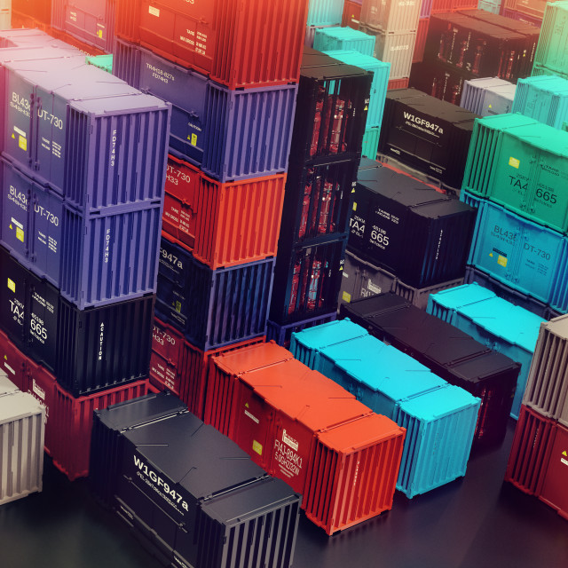 """""""Raft of shipping containers freight cargo city depot warehouse."""" stock image"""