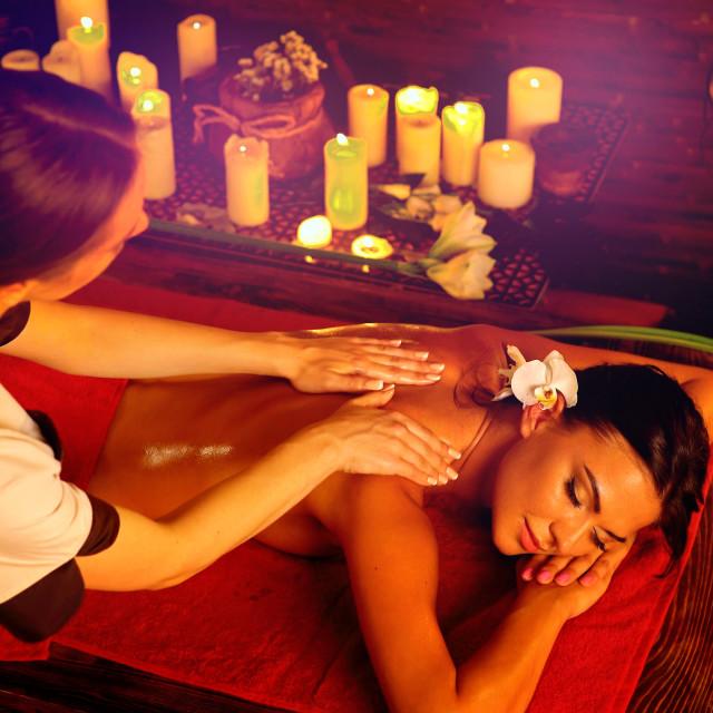 """Massage and aromatherapy woman getting rid insomnia"" stock image"