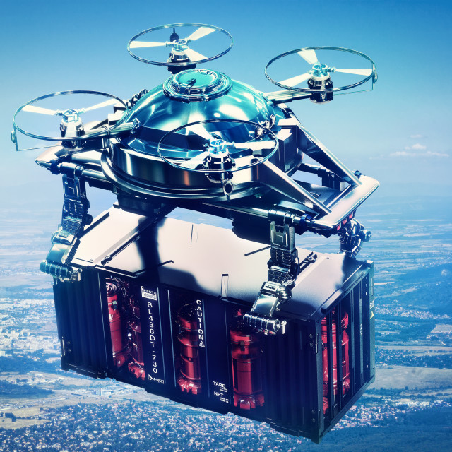 """""""Sci-fi drone cargo with container freight flying above future city."""" stock image"""