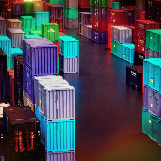 """""""Fragile commodity containers freight cargo in warm dry storage facilities."""" stock image"""