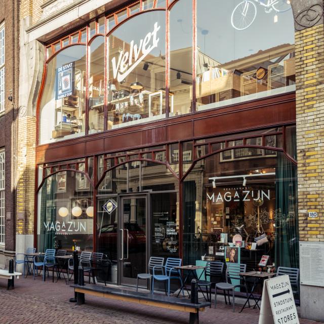"""""""Facade of Restaurant Het Magazijn"""" stock image"""