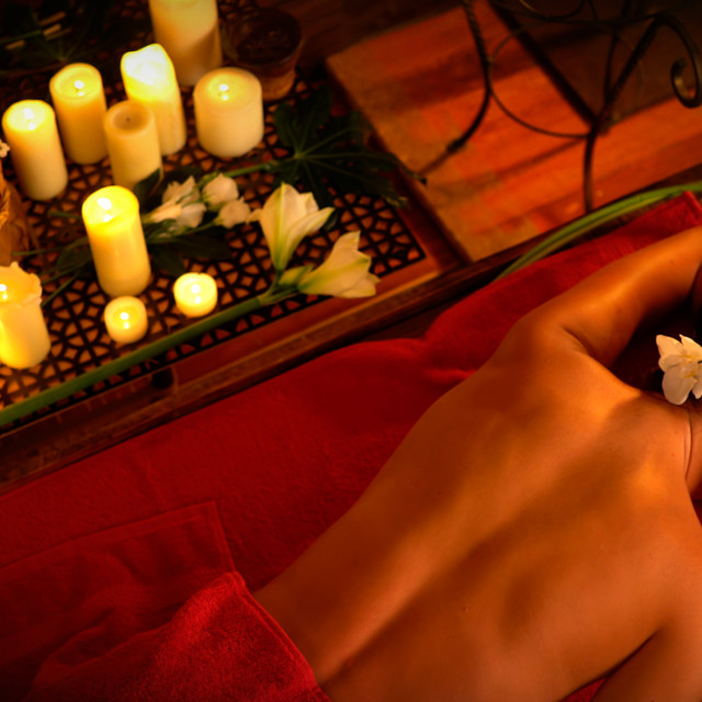 """""""Top view of massage courses for woman"""" stock image"""