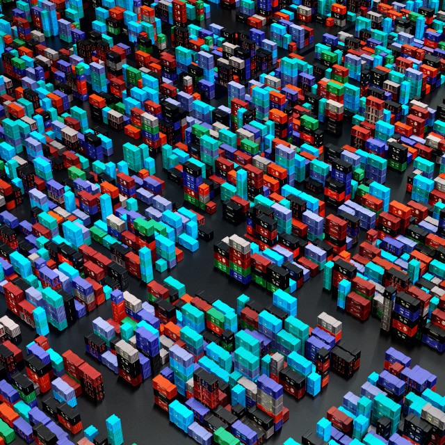 """""""Drone shooting heap containers freight cargo depot warehouse."""" stock image"""