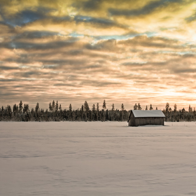 """""""Sunset Over The Snow Covered Fields"""" stock image"""
