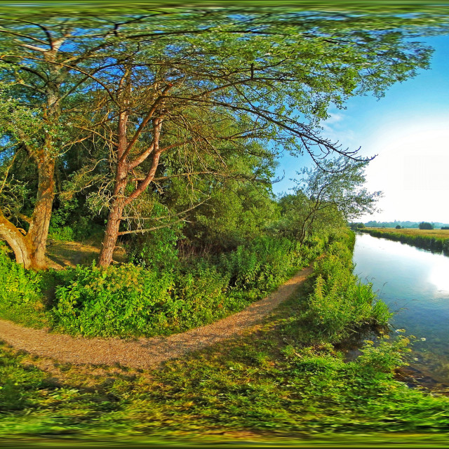 """River Itchen Navigation Way in Hampshire (360VR Equirectangular)"" stock image"
