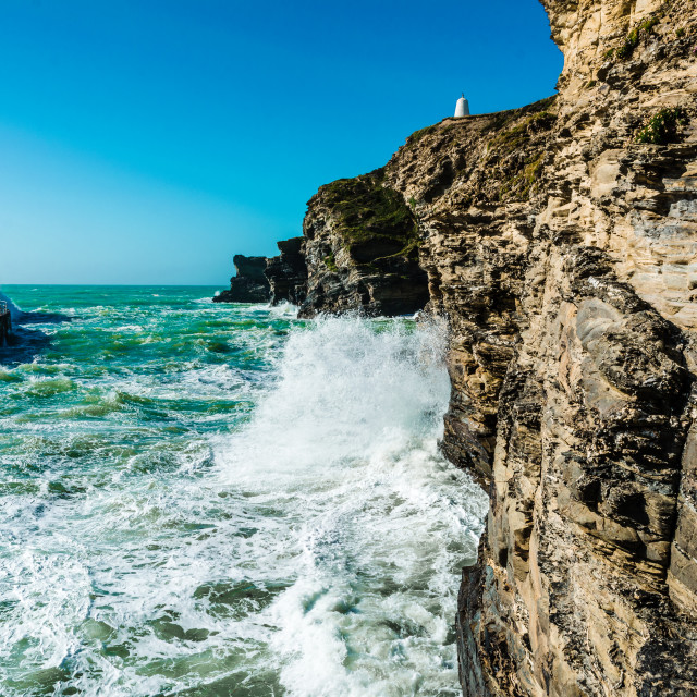 """Portreath Harbour wall"" stock image"
