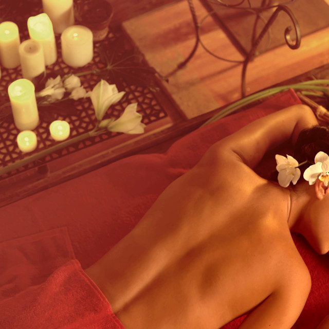 """""""Massage treatment of insomnia and neurosis woman in oriental renovation"""" stock image"""