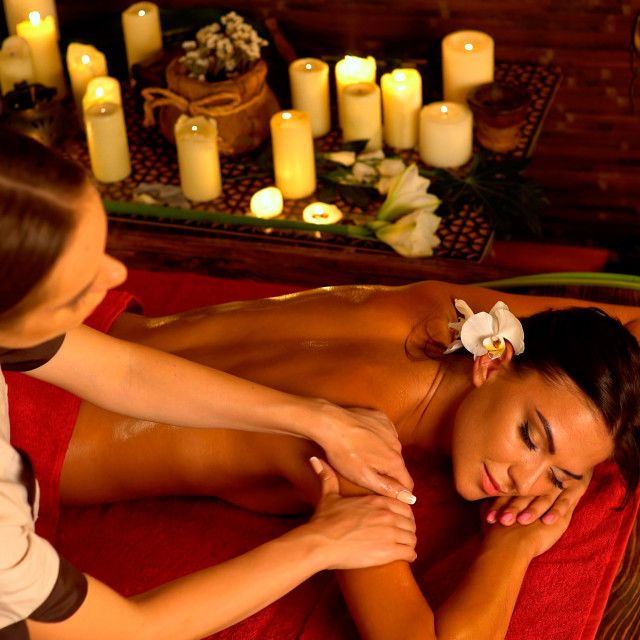 """""""Massage and aromatherapy woman with practitioner"""" stock image"""