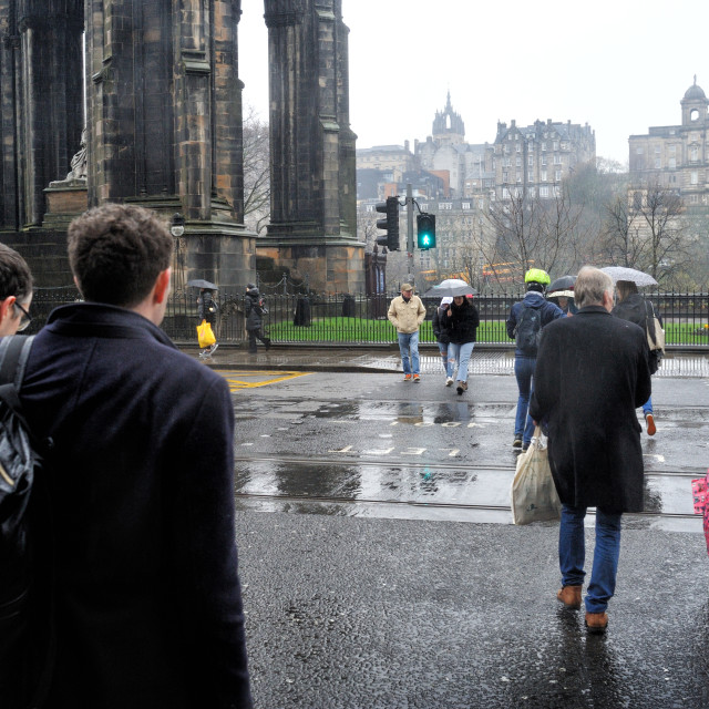 """Crossing Princes Street, Edinburgh"" stock image"