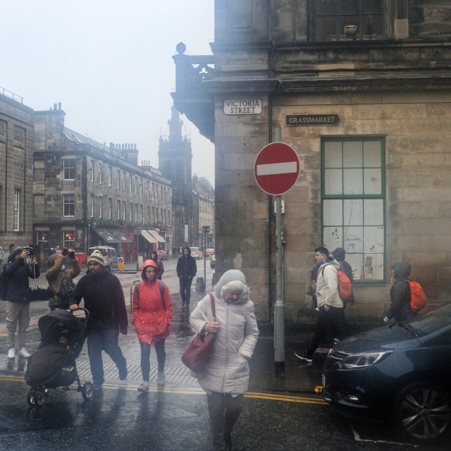 """A wet Edinburgh street near Grassmarket"" stock image"