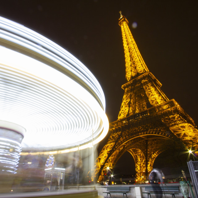 """Eiffel Tower and Carousel"" stock image"