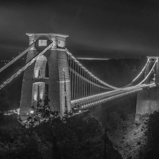 """Black and White of Clifton Suspension Bridge"" stock image"
