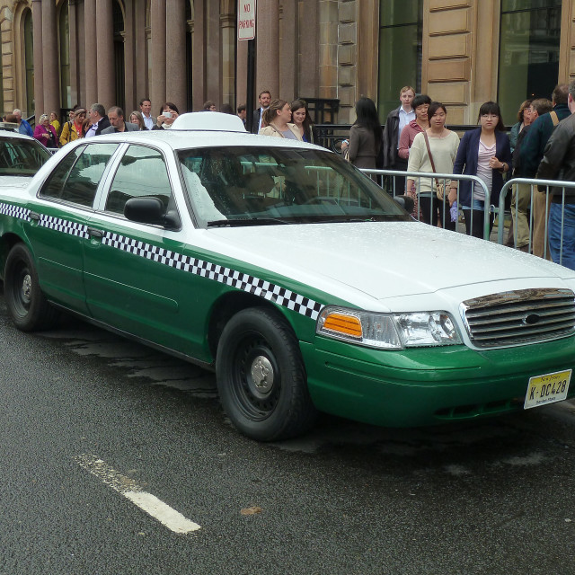 """""""American taxi in Glasgow for film World War Z."""" stock image"""