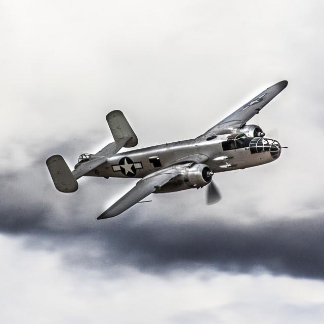 """B-25 Mitchell High Speed Pass"" stock image"