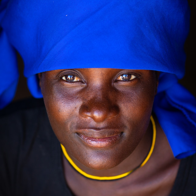 """""""Cuepe tribe woman with a blue headwear, Cunene Province, Curoca, Angola"""" stock image"""