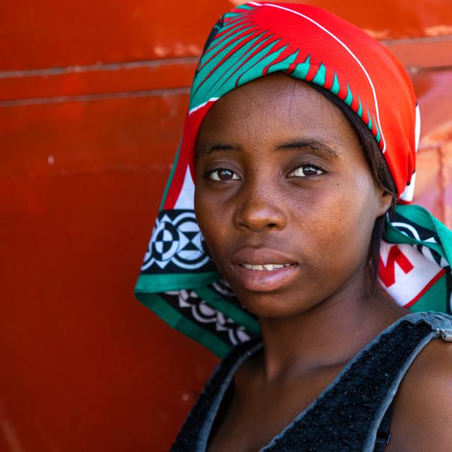 """Angolan woman portrait, Benguela Province, Catumbela, Angola"" stock image"