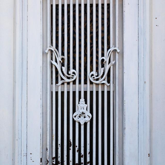 """Old portuguese colonial building window, Benguela Province, Lobito, Angola"" stock image"