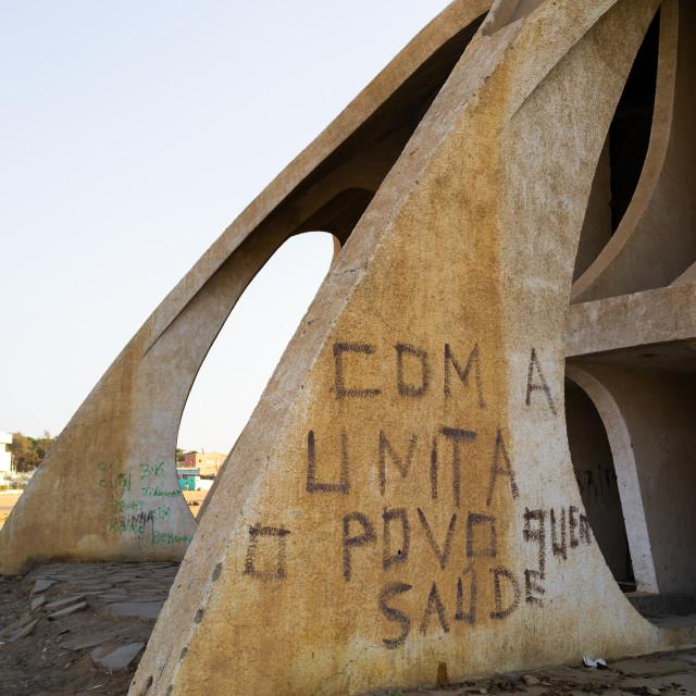 """UNITA slogan written on cine estudio, Namibe Province, Namibe, Angola"" stock image"