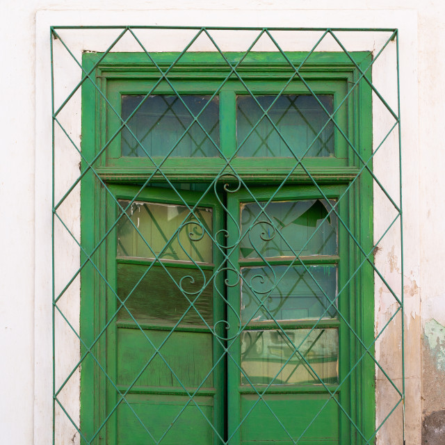 """""""Window of an old portuguese colonial building, Namibe Province, Namibe, Angola"""" stock image"""