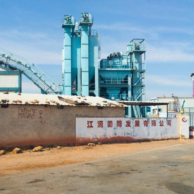 """Chinese factory, Namibe Province, Namibe, Angola"" stock image"