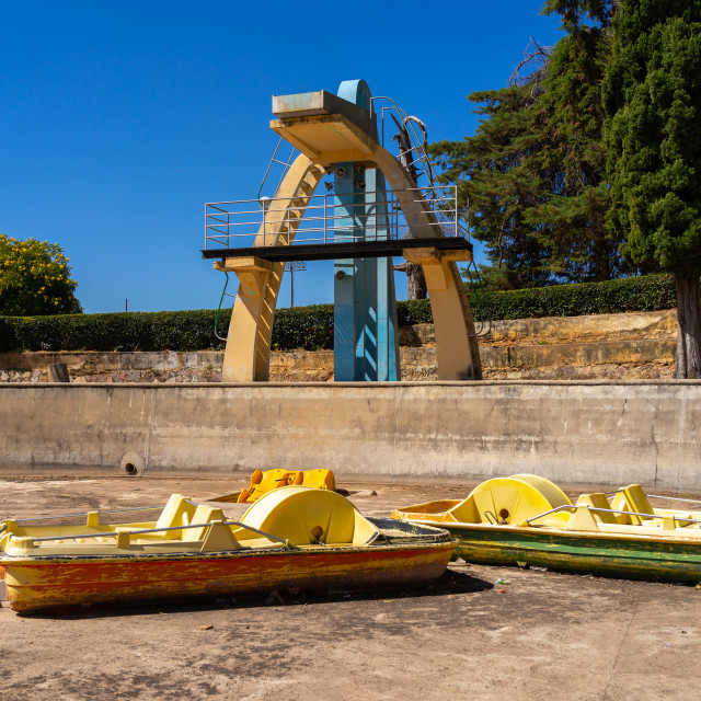 """Paddle boats in front of the diving board in piscina da senhora do monte,..."" stock image"