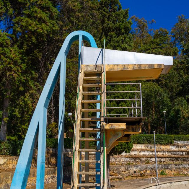 """""""Diving board in piscina da Senhora do Monte, Huila Province, Lubango, Angola"""" stock image"""