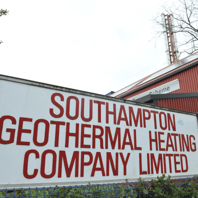 """""""Southampton UK Southampton District Energy Scheme, district geothermal heating and cooling system in the centre of the city."""" stock image"""