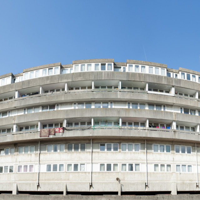 """""""Southampton UK Brutalist architecture. Wyndham Court built in 1966-69 and a grade II listed building."""" stock image"""