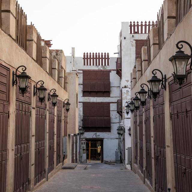 """Closed shops in the souq, Mecca province, Jeddah, Saudi Arabia"" stock image"