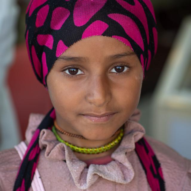 """Portrait of a yemeni refugee girl, Jizan Province, Addayer, Saudi Arabia"" stock image"
