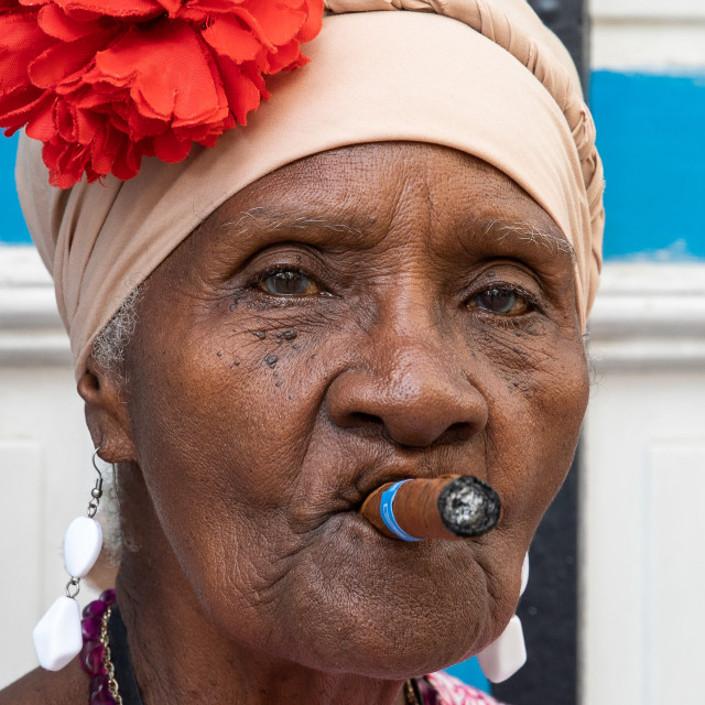 """Cigar smoking lady"" stock image"