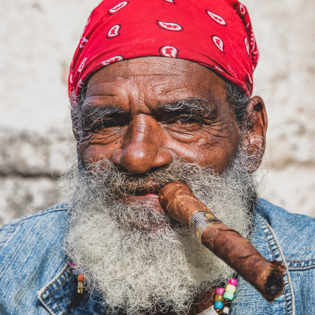 """Havana cigar smoker"" stock image"