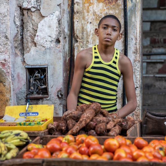 """""""Stall holder in Havana"""" stock image"""