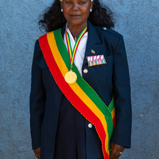 """Ethiopian patriot woman, Addis Abeba region, Addis Ababa, Ethiopia"" stock image"