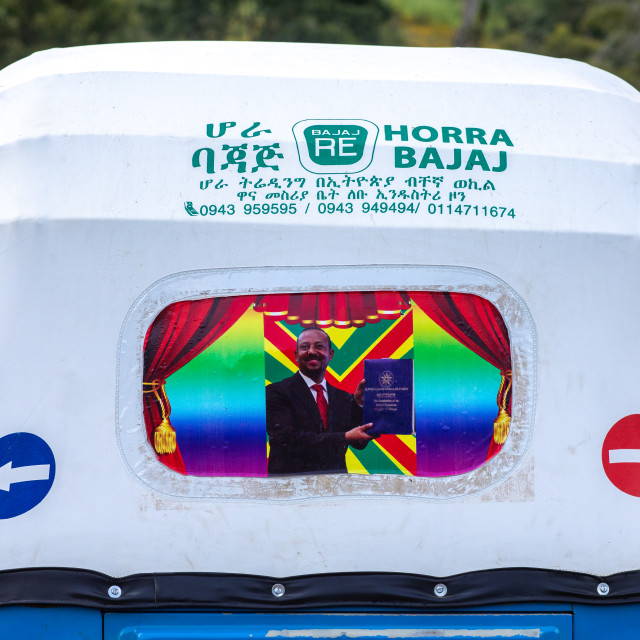 """Decoration of a tuk tuk with ethiopian prime minister abiy ahmed, Kaffa..."" stock image"