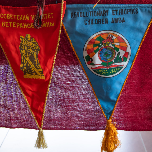 """Pennants from the derg communist times, Addis Abeba region, Addis Ababa,..."" stock image"
