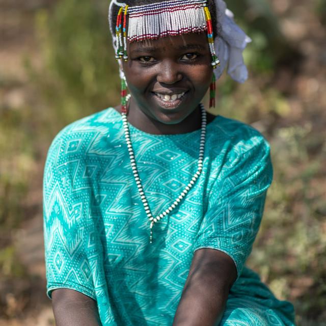 """""""Oromo girl with a beaded headwear, Oromia, Mileso, Ethiopia"""" stock image"""