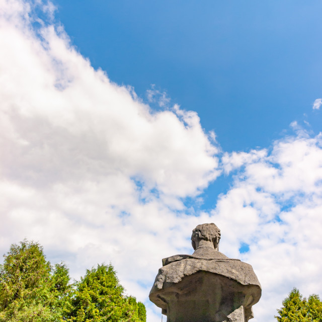 """""""Statue bust seen from back against a blue sky sky"""" stock image"""