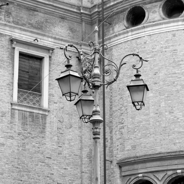 """""""Parma old city centre view. Black and white photo"""" stock image"""