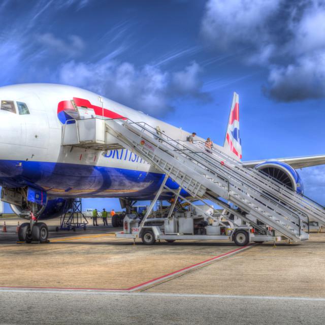 """British Boeing 777 Airways In Barbados"" stock image"