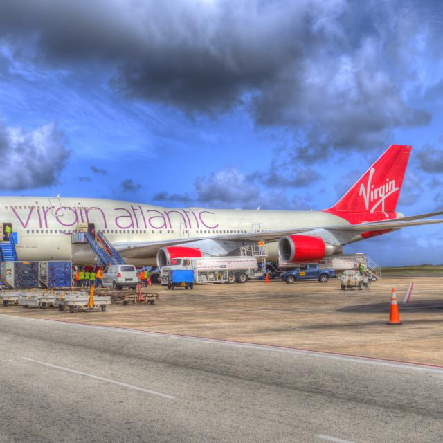 """Virgin Atlantic Boeing 747 Barbados"" stock image"