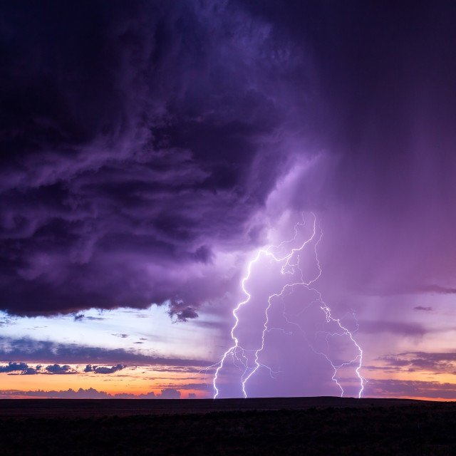 """Lightning at sunset"" stock image"