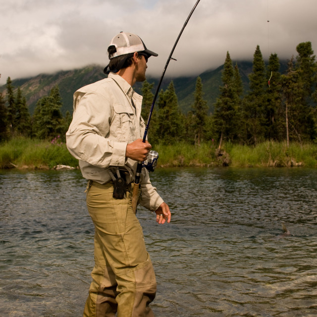 """Fishing During Salmon Run in Kijik River"" stock image"