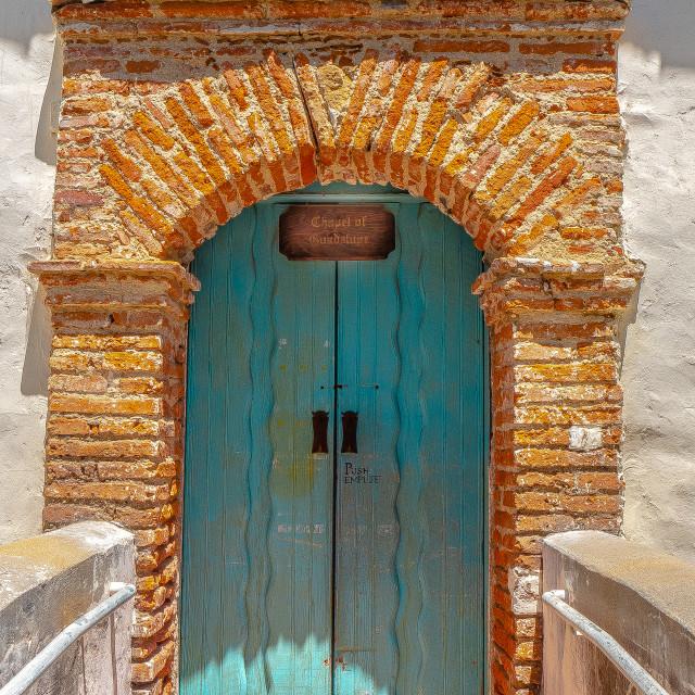 """Chapel Door at Mission San Juan Bautista"" stock image"