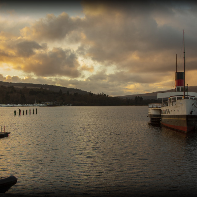 """Loch Lomond and Maid of the Loch"" stock image"