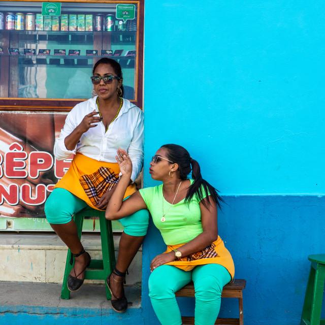 """Ladies having a rest in Trinidad, Cuba"" stock image"