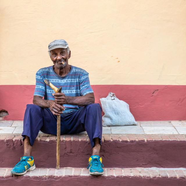 """""""Cigar smoker in Trinidad, Cuba"""" stock image"""