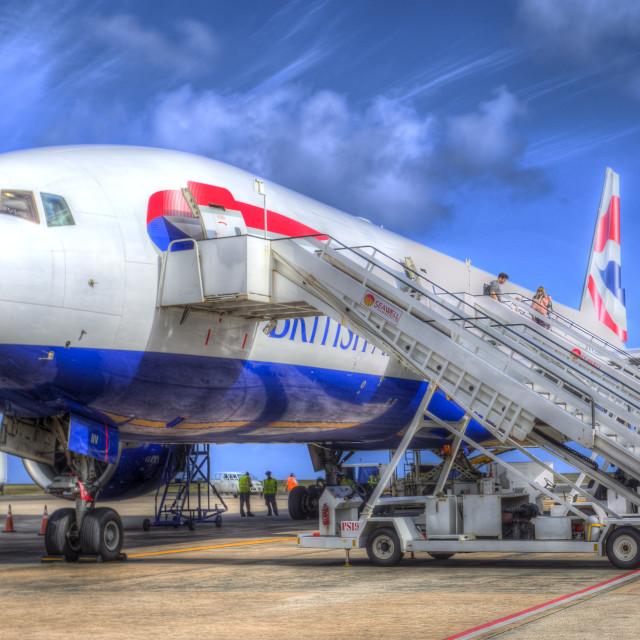 """British Airways Boeing 777 Barbados"" stock image"