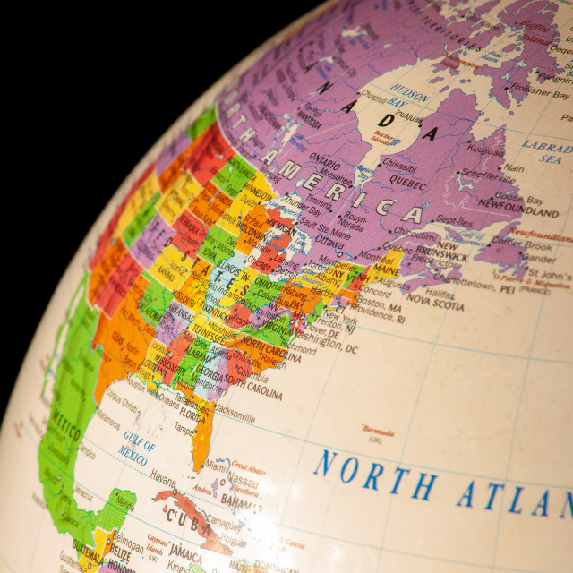 """""""North America on the Globe with Black Background"""" stock image"""